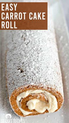 Looking for a fun twist on carrot cake? You will love this delicious carrot cake roll filled with homemade cream cheese frosting! Carrot Cake Roll Recipe, Carrot Spice Cake, Cake Roll Recipes, Easy Carrot Cake, Sponge Cake Roll Recipe, Old Fashioned Cake Recipe, Jelly Roll Cake, Spring Cake, Cream Cheese Filling