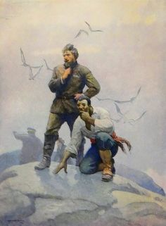 """""""The castaways await the lifting of the fog."""" Art by N. C. Wyeth from """"The Mysterious Island"""" by Jules Verne (Scribner's, 1927) 