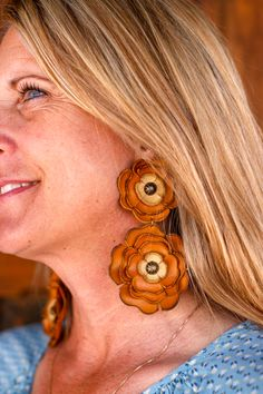 Mustard & Buttermilk double leather flower earrings on posts Leather Flowers, Leather Tooling, Flower Earrings, Mustard, Instagram Posts, Big, Mustard Plant