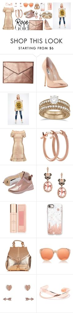 """""""Rose and Gold"""" by oldcastlechrista ❤ liked on Polyvore featuring Rebecca Minkoff, Dune, Allurez, Hervé Léger, Pori, Puma, Effy Jewelry, Bulgari, Casetify and Linda Farrow"""