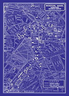 1944 chicago street map vintage blueprint print poster pinterest 1949 vintage map of downtown boston 20x30 blueprint map print poster malvernweather Choice Image