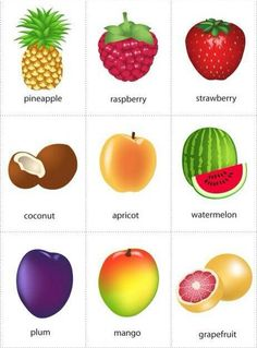 Kids Pages - Fruits 2 - free flashcards - pdf - 2 sizes - free Learning English For Kids, Kids English, English Tips, English Study, English Words, English Lessons, English Grammar, Teaching English, Learn English