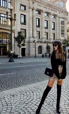 Burberry skirt gucci belt fashion belt burberry fashion gucci skirt fashion influx black frill puff sleeved crop top source by jaratribute trendy outfits Paris Outfits, Winter Fashion Outfits, Mode Outfits, Look Fashion, Autumn Fashion, Summer Outfits, Gucci Outfits, Fashion Styles, Europe Outfits