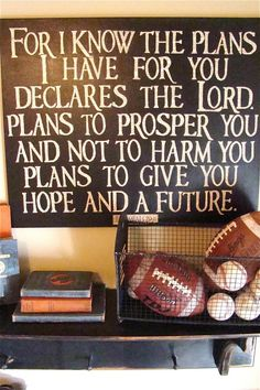 Jeremiah 29:11  DIY scripture sign - letters printed on old book pages and cut out, then glued on canvas painted black. Clear top coat.