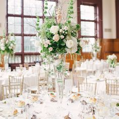 Tall Blush and Ivory Floral Centerpieces // brklyn view photography // Flowers By Bernard // http://www.theknot.com/weddings/album/a-whimsical-summer-wedding-in-staten-island-ny-137636
