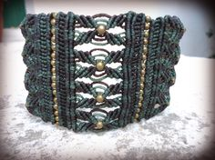 Earthy Macrame Cuff Bracelet in Green Brown and by DidikaiDesigns, zł140.00