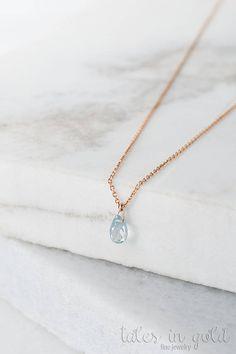 Birthstone Necklace Aquamarine Pendant 14k Gold Necklace