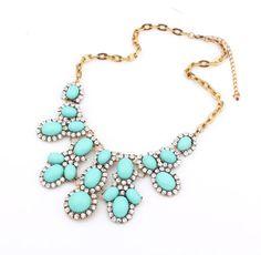 Turquoise Statement Necklace Elegant Handmade door InfinityJewelrys, $12.99 ZILVEREN KETTING AAN MAKEN