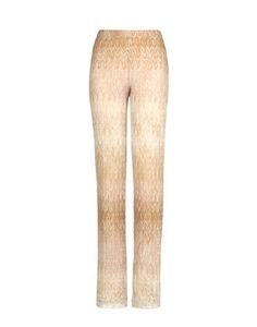 Palazzo pant in knitted lace and Lurex. Ombre, perforated zig-zag and striping motif with stretch georgette silk lining.