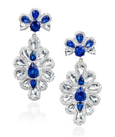 Cellini Jewelers Chic Sapphire and Rose Cut Diamond Earrings. Fresh style by Sutra Jewelers