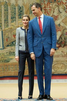 King Felipe VI of Spain and Queen Letizia of Spain attends a meeting with representatives of institutions of social solidarity at Palacio de El Pardo, 24.06.2014 in Madrid