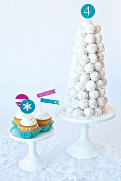 Frozen Birthday Cake Ideas at PagingSupermom.com #frozen, @Barb Boner  - this would be easy to do, donut tower and cupcakes