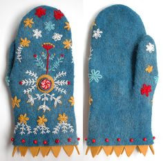 Blue felt mittens with yellow trim and white, yellow and red accent embroidery by Tiny Toadstool Hand Wear by Shan Shan