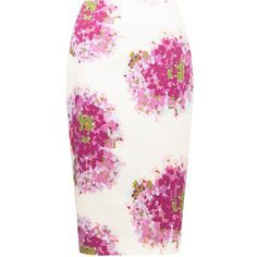 Hobbs Hydrangea Skirt, Orchid Pink ($145) ❤ liked on Polyvore featuring skirts, patterned pencil skirt, white knee length skirt, cotton pencil skirt, slit pencil skirt and print pencil skirt