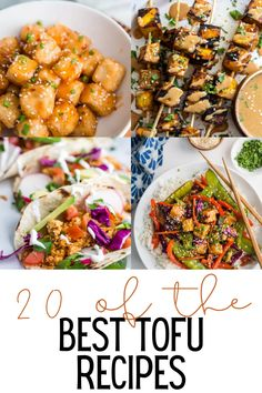 Over 20 of the BEST tofu recipes on the internet! You'll find some great tofu dinner recipes to try that will make you fall in love with this meatless option! Tofu Dinner Recipes, Best Tofu Recipes, Vegetarian Dinners, Breakfast Recipes, Vegetarian Recipes, Cooking Recipes, Tofu Dessert, Tofu Tacos, Bbq Tofu