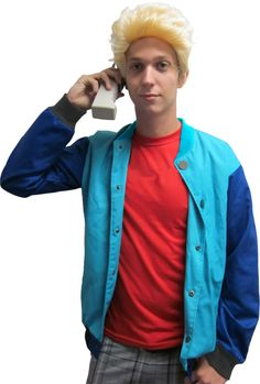 90's Saved by the Bell Stud Costume Bayside Jacket & Wig
