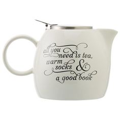 """Tea Forté Pugg Teapot .... lettering reads """"All you need is tea, warm socks & a good book"""", ceramic with stainless steel hinged lid"""