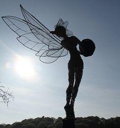 """Fantasy Wire Fairies Sculptures """"Bird Feeder"""""""