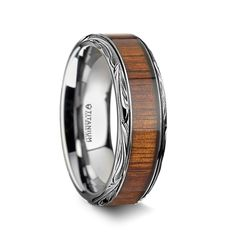 Double Accent Custom Engraving 8MM Comfort Fit Tungsten Wedding Band Mother of Cultured Freshwater Pearl Inlaid Promise Ring