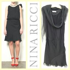Nina Ricci $1,775 ethereal multi-layer black silk cocktail dress sz.S RR Price: $290 www.resalerichesnyc.com