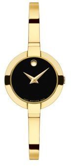 Movado Bela Goldtone Stainless Steel Bangle Bracelet Watch