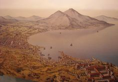 The city and harbor of Neapolis in the Bay of Naples ~ I believe this watercolor was created by Jean-Claude Golvin and is located at the Museo Archeologico di Napoli   [http://www.flickr.com/groups/napolinobilissima/discuss/72157632652134498/#comment72157632648075745]