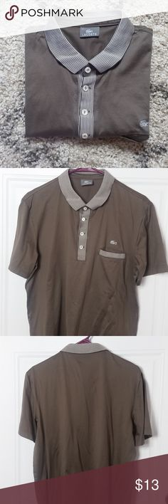 Lacoste Polo Shirt Size 4 Lacoste Polo Shirt Size 4, 100% Cotton. I'm not sure what the exact color is. But I see gray, and something brown :) Lacoste Shirts Polos