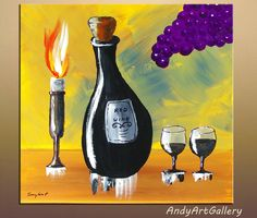 Still life Original Acrylic Abstract Painting Wine Series  on Gallery canvas by Andrzej Smykot by ANDYARTSTUDIO on Etsy