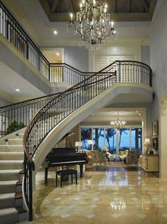 Grand staircase house plans magnificent palatial staircase designs that redefine grand staircase design grand designs staircase Grand Foyer, Grand Staircase, Staircase Design, Grand Entrance, Winding Staircase, House Staircase, Curved Staircase, Staircase Ideas, Luxury Staircase