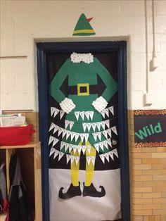 Elf themed Christmas Door Decorations for school contest! Holiday Door Decorating