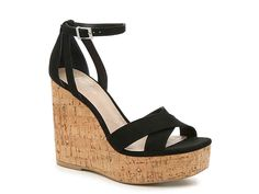 Charles by Charles David-Dempsey Wedge Sandal Take your warm weather look to new heights with the Dempsey wedge sandal from Charles by Charles David. A towering cork wedge and sleek ankle strap keeps this pair trendy yet versatile. Clogs Shoes, Shoe Boots, Cute Shoes, Me Too Shoes, Black Wedge Shoes, Vegan Shoes, Peep Toe Wedges, Womens High Heels, Fashion Boots