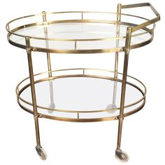 Patinated Solid Brass Bar Cart by Maxwell Phillips, New York City, circa 1960 | From a unique collection of antique and modern bar carts at https://www.1stdibs.com/furniture/tables/bar-carts/