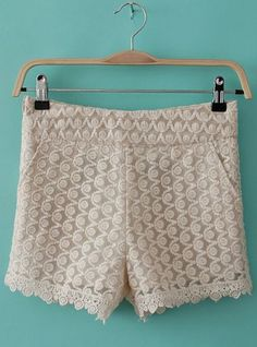 Beige Mid Waist Lace Embroidery Short