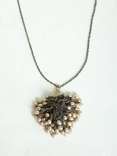 oxidized silver, pearl & brass cluster necklace