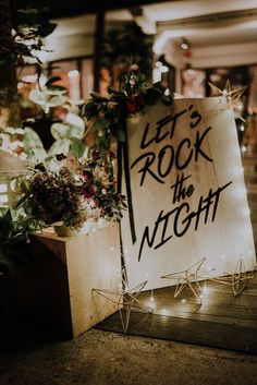 Gorgeous fairy lights and rock n roll decor with lots of florals and greenery // It's not everyday you see a true rock n Edgy Wedding, Wedding Music, Wedding Beauty, Dream Wedding, Wedding Day, Rocker Wedding, Punk Rock Wedding, Wedding Notes, Wedding Stage