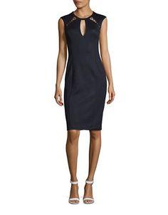 Guess Textured Sheath Dress Women's Navy Blue 8