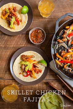 If you're looking for dinner in an hour, look no further. Skillet Chicken Fajitas will do the trick. Instead of sautéing the ingredients, place the chicken and vegetables into the skillet, toss them with taco seasoning and put the whole pan in the oven to roast. As it's cooking away, you can prep the tortillas and all of your favorite fixings, cutting your prep time in half.