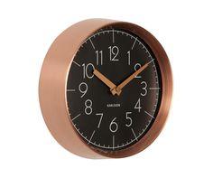 Wall clock Convex black, copper case D. 22cm, H.7cm, Excl. 1 AA battery, BOX32 Design. #karlssonclocks #presenttime