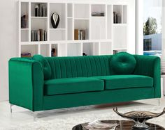 The Isabelle sofa is made with velvet upholstery around the frame in green color with chrome legs. It has piped stitching and removable seat cushions. Elegant and eye-catching. the stunning Isabelle sofa from Meridian Furniture is the stylish additio. Living Room Sets, Living Room Modern, Living Room Furniture, Furniture Usa, Green Furniture, Apartment Furniture, Funky Furniture, Furniture Stores, Pallet Furniture