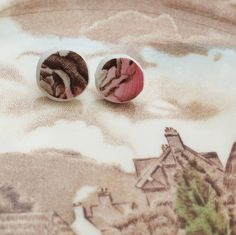 Dusty Rose & Brown Ceramic Stud Earrings made from a broken china plate