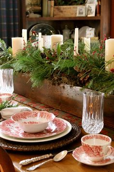 Greenery, candles, rustic box