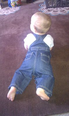 My little Lentil... looks cute in dungarees!