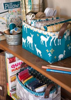 Goodness, I am just so excited to share this little project! I'm a storage and organization junkie, and of course I love fabric, so combining the two just puts me in a happy place. Making sure my s...