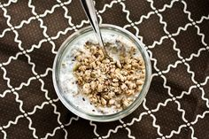 """Overnight Oats    This is """"cooking"""" the night away in the fridge -- yes, fridge. It's my first time trying it, so here's hoping I enjoy it!    I used 1/3 cup of rolled oats, 1/3 cup unsweetened almond milk, 1/3 cup of plain Greek yogurt, 1 tbsp brown sugar & a dash of  cinnamon...Stirred, covered and stored in the fridge! (5 PPV as I made it, fellow WWers!)"""