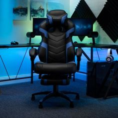 Respawn 110 Racing Style Reclining Gaming Chair with Footrest - On Sale - Overstock - 22848763 - Black Gaming Furniture, Gaming Chair, Office Furniture, Pc Racing Games, Seat Covers For Chairs, Support Pillows, Ergonomic Chair, Bonded Leather, Cool Chairs