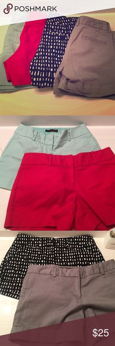 BUNDLE shorts❤️ Two limited shorts, mint color size 6 red size 8. Black and white shorts are New York and company and they are size 2.  Fits like a 4. Gray shorts are express and they are size 4. Shorts