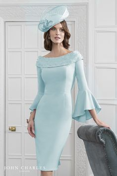 Beautiful mother of the bride dresses from Nigel Rayment Boutique. Sale - Buy Online, 66454 - John Charles 66454 - Off the shoulder dress with bell sleeves Mother Of Bride Outfits, Mother Of Groom Dresses, Mother Of The Bride, Elegant Dresses, Pretty Dresses, Beautiful Dresses, Formal Dresses, Vetement Fashion, Special Occasion Dresses