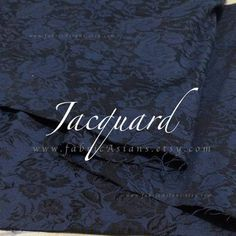 buy Midnight Blue Jacquard Rose Fabric by meter achat dunkelblau jacquard