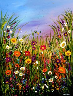 Buy SUMMERTIME, Acrylic painting by Judith Rowe on Artfinder. Discover thousands of other original paintings, prints, sculptures and photography from independent artists. Canvas Painting Landscape, Landscape Art, Acrylic Painting Flowers, Acrilic Paintings, Beautiful Paintings, Flower Art, Watercolor Art, Art Projects, Canvas Art