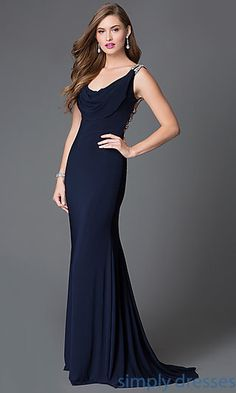 Cowl Neck Sleeveless Xcite Formal Gown with Multi-Strap Back